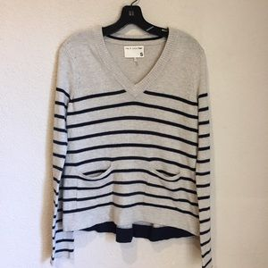 rag & bone wool blend v neck striped long sleeve s